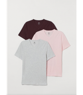 3-pack T-shirts Slim Fit cou v